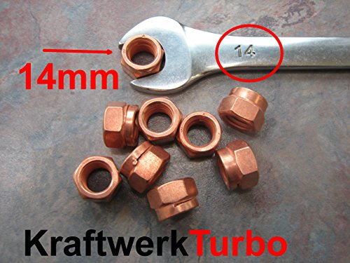4x M10-1.50 Copper Turbo Nuts 14mm (!!!) Hex