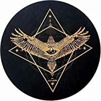 Premium Turntable Slipmat -Cork Turntable Slipmat Proves Sound Quality with Better Grip [4mm]- Psychedelic Geometric Eagle , Cork