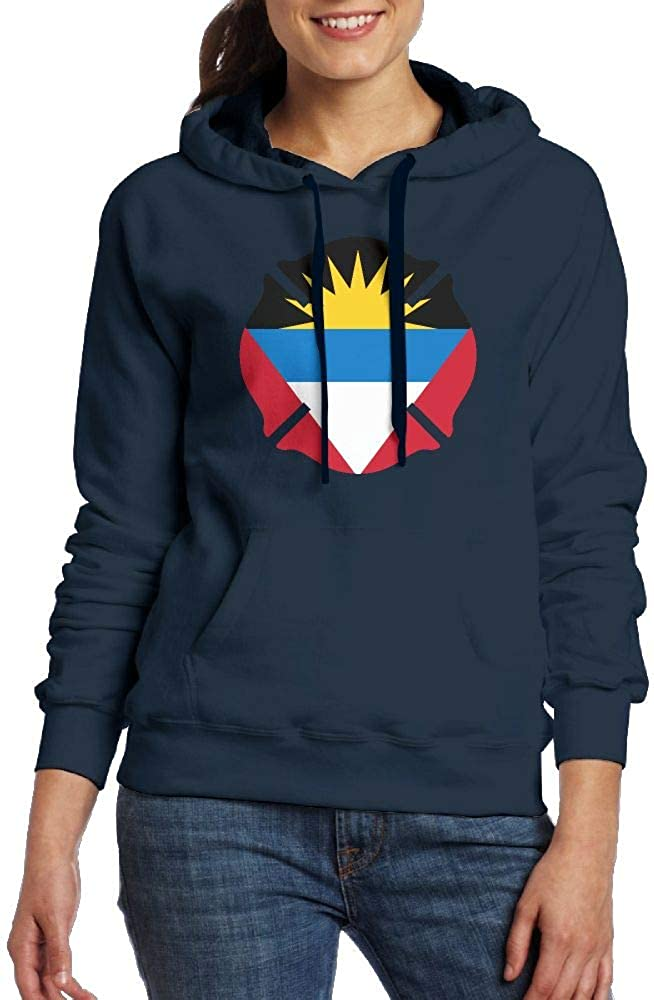 Antigua and Barbuda Firefighter Womens Long Sleeve Sweatshirt Blouse Hooded Pullover Shirt