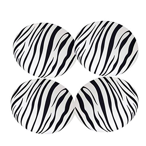 Flameer 4Pcs Elegant Non-Slip Bar Stool Cover Round Lift Chair Seat Sleeve Band Height 10cm Home Fashions~Zebra - Slipcover Zebra