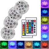 Submersible Led Lights with Remote - 2019 Underwater Led Lights - Waterproof Light Pad - Led Lights Battery Operated - Aquarium Lights Decorations - Fountain,Pond Lights -Four Remote Controls Included