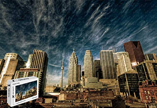 PigBangbang,20.6 X 15.1 Inch,Made of Basswood - Toronto Canada Downtown Sky Clouds Travel Vacation Booking - 300 Piece Jigsaw Puzzle]()