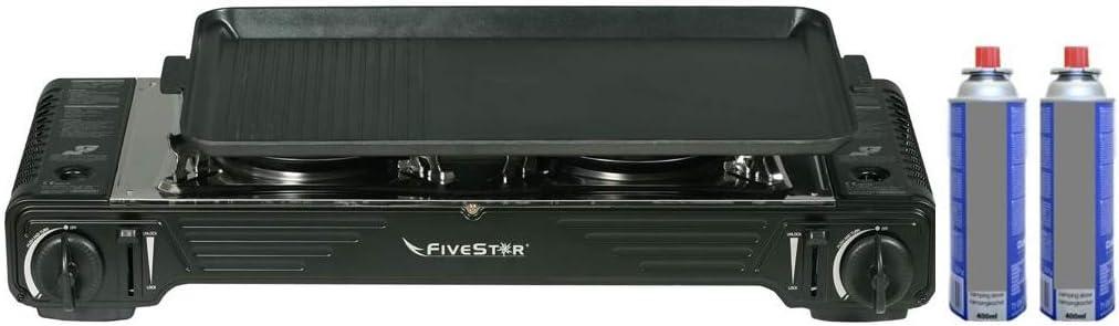 Fivar - Hornillo de gas doble 2 fuegos Piezo 4400 W 2 en 1 + Plancha grill - Hornillo de gas portátil con maletín + 2 cartuchos de 227 g