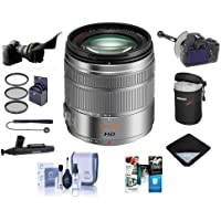 Panasonic Lumix G Vario 14-140mm f/3.5-5.6 Power O.I.S. Lens for Micro Four Thirds, Matte Silver - Bundle With 58mm Filter Kit, Cleaning Kit, Capleash, Lenspen Lens Cleaner, Software Package