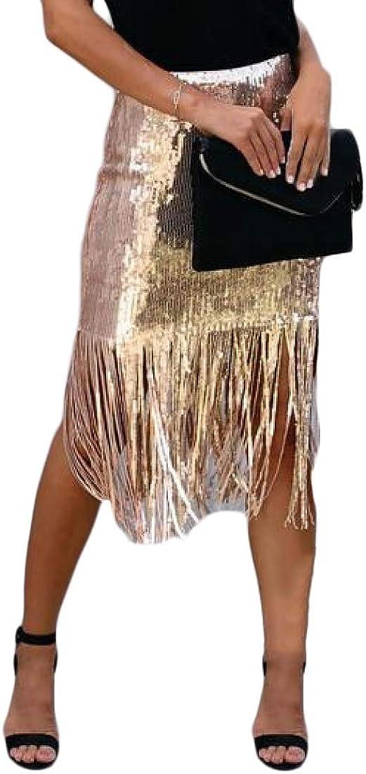 SHOWNO Womens Glitter Sequins High Waist Fashion with Tassles Bodycon Maxi Long Dress
