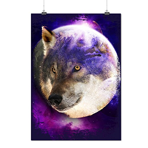 Wild Wolf Moon Earth Animal Face Matte/Glossy Poster A2 (17x24 inches) | Wellcoda