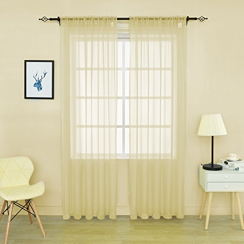 HOLKING 2 Piece Sheer Window Curtains Panels 84 inch length Cream Yellow Rod Pocket Sheer Voile Window Curtains Toal is 104 inches wide by 84 inches long