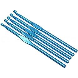 """10 Pack - CleverDelights Size J (Size 10) Aluminum Crochet Hooks - 6"""" Length - 6mm Diameter - Knitting"""