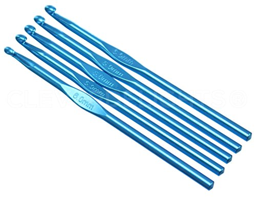 "5 Pack - CleverDelights Size J (Size 10) Aluminum Crochet Hooks - 6"" Length - 6mm Diameter - Knitting - $10.99"