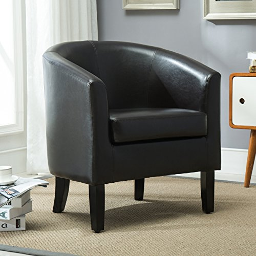 Belleze Modern Arm Club Chair Faux Leather Tub Barrel Style, Brown - Barrel Club Chair