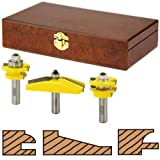 Woodtek 912356, Router Bits, Door Construction, Stile & Rail - Cabinet, 3-Piece Cabinet Door Set W/Bevel Panel Bit 1/2 Shk