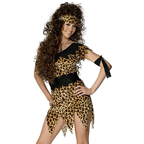 Smiffy's Women's Cavewoman Costume, Tunic, Belt, Head and Armband, Caveman, Serious Fun, Size 10-12, 28600