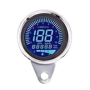 ShinePick 10000 RPM Velocimetro Moto LCD Aluminum Velocímetro + Tacómetro Digital 7 LED Color + Odómetro + Manómetro de Aceite para 12V Motorcycle