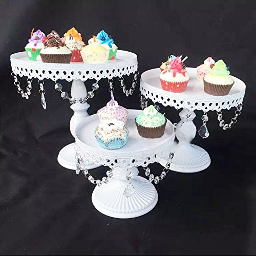 Wedding Cake Stand Set - 3 Set Metal Crystal Cake Holder Cupcake Stand Cake Dessert Holder with Pendants and Beads,Wedding Birthday Dessert Cupcake Pedestal Display,White (3)