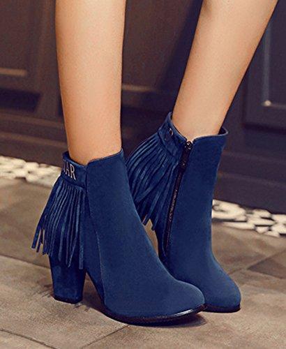 Aisun Womens Unique Fringed Round Toe Side Zipper High Tops Dress Chunky High Heels Booties Shoes Blue HglFkA1