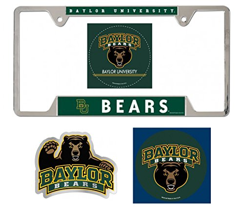 WinCraft Baylor Bears Automotive Quad Fan Pack: 1 License Plate Frame, 1 Magnet, 1 Auto Badge Decal, 1 Bonus Decal -