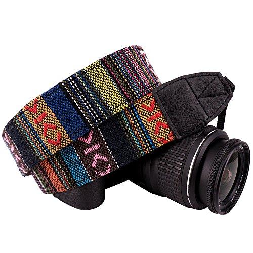 Wolven Pattern Canvas Camera Neck Shoulder Strap Belt for All DSLR/SLR/Men/Women etc, Colorful Stripe Pattern