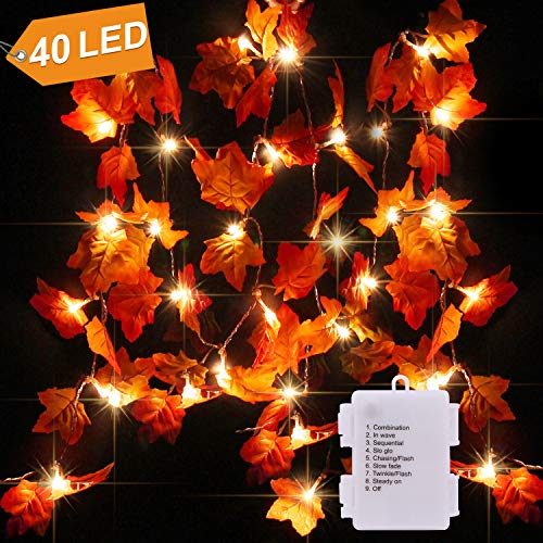 CPPSLEE 14.7ft Christmas Decorations Lighted Fall Garland -Waterproof Christmas Decor Fall Garland Lights 40 LED - 8 Blinking Modes - Fall Decor, Fall Decorations]()