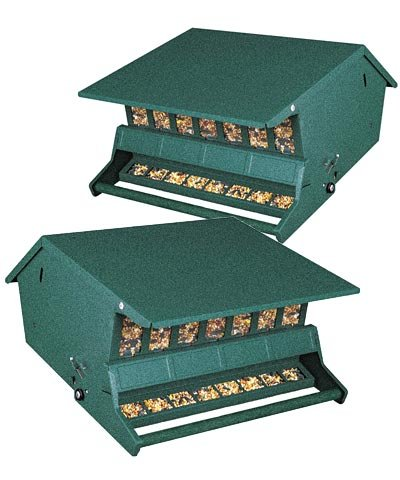 BestNest Two Pack of Heritage Farms Bird's Choice Green Squirrel Proof Feeders