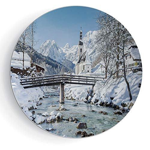"6"" Winter Pattern Ceramic Plate Panoramic View of Scenic Landscape in Bavaria Parish European Scenic Places Decorative"
