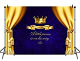 Mehofoto Blue Baby Shower Backdrop Yellow Curtain Photo Background for Little Prince Newborn Baby Children 7x5 Professional Customized Photography Backdrops Photoshoot Props