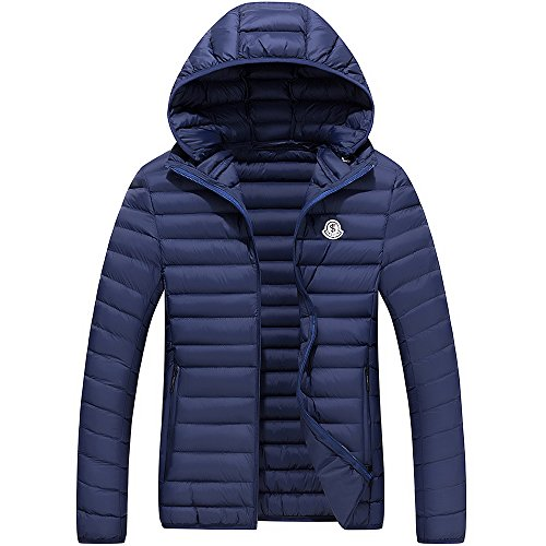 FLY HAWK Winter Light Weight Warm Cotton Padded Jacket With Detachable Hood For Mens Navy Blue US Size L