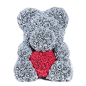 Auntwhale The Rose Teddy Bear Artificial Forever Rose, Suitable for Lover Girlfriend Lovely Cartoon Gift 78