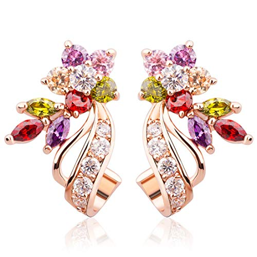 Everbling Rose Gold Plated Flower Design Multicolor Cubic Zirconia Stud Earrings for Women Girls CZ Jewelry
