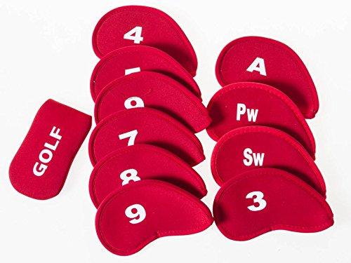 南砂のゴルフ用 ドライバー用 ヘッドカバー 10個入 + パター用 ヘッドカバー1個入#レッド