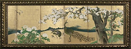 (Framed Cherry Blossoms and Peacocks by Kano Sansetsu 12x36 Art Print Poster Famous Painting Japanese Landscape from Museum of Fine Arts Boston Collection)