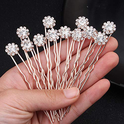 (Ammei Crystal Bridal Hair Pins Clips Wedding Hair Accessories Hair Set Jewelry With Rhinestone For Brides and Bridesmaids Set Of 12 (Silver))