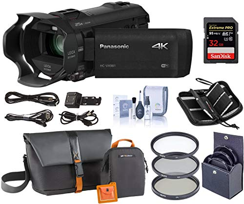 (Panasonic HC-VX981K 4K Ultra HD Camcorder with 4K Photo Capture, Wi-Fi - Bundle with Video Bag, 32GB Class 10 U3 Sdhc Card, Cleaning Kit, 49mm Filter Kit, Memory)
