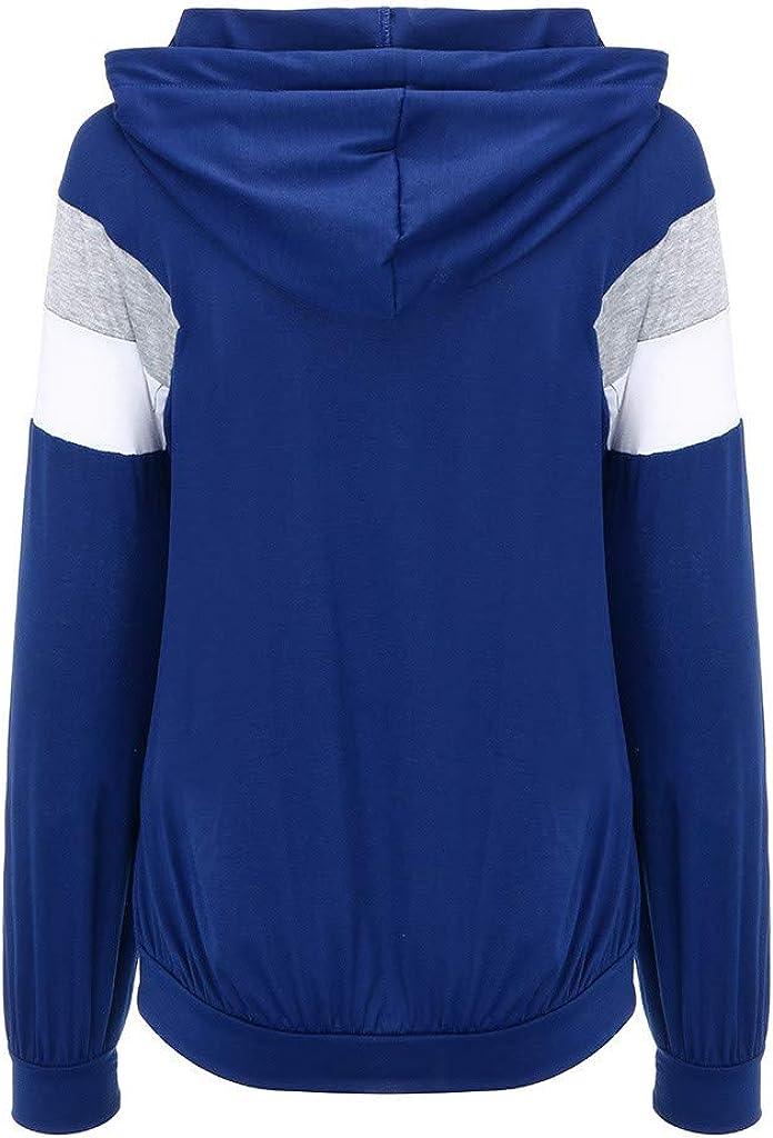 Comcialist 1//4 Zipper Women Long Sleeve Pocket Zipper Sweatshirt Hipster Hooded Patchwork Tops