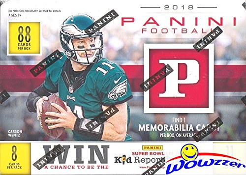 2018 Panini NFL Football EXCLUSIVE HUGE Factory Sealed Blaster Box with MEMORABILIA Card! Look for Rookies & Autograph's of Baker Mayfield, Sam Darnold, Saquon Barkley, Josh Allen & Many More! WOWZZER from Panini