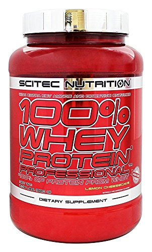 Low White Cake Mix (Scitec Nutrition 100% Professional Whey Protein Powder, 2.03LBS, with Extra Added Aminos & Digestive Enzymes, NON-GMO, Mixes Instantly (Lemon Cheesecake))