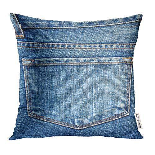 (Emvency Throw Pillow Cover Denim Blue Jeans Pocket Back Western Country Indigo Decorative Pillow Case Home Decor Square 16x16 Inches Pillowcase)