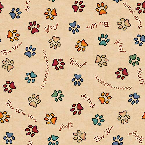 Quilting Treasures Fabrics Must Love Dogs Paw Prints Light Tan Fabric by the Yard