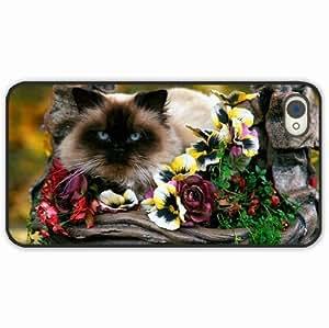 iPhone 4 4S Black Hardshell Case flowers basket fluffy Black Desin Images Protector Back Cover