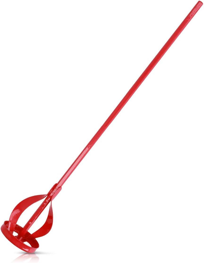 Navaris Mezclador de pintura para taladro - Accesorio para taladradora para mezclar pintura yeso mortero - Agitador con varillas en rojo