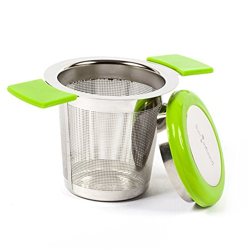 Large Capacity Stainless Steel Tea Infuser by Live Infused - Silicone Covers Handles & Lid Prevent Burns, Spills (Green)