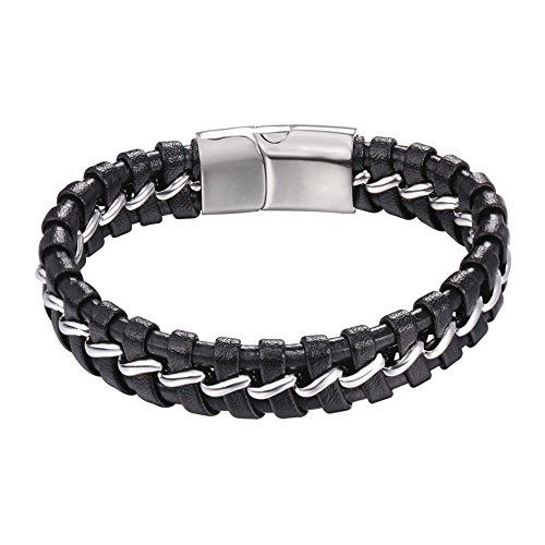 U7 Men's Genuine Leather Bracelet with Stainless Steel Chain Silver/Golden