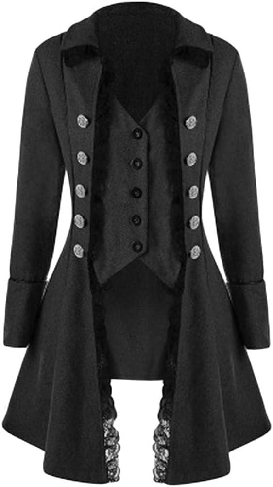 LiangZhu Damen Jacken M/äntel Westen Steampunk Gothic Samt Retro Button Trenchcoat Vintage Unregelm/ä/ßige Frack Oberbekleidung Gehrock Uniform