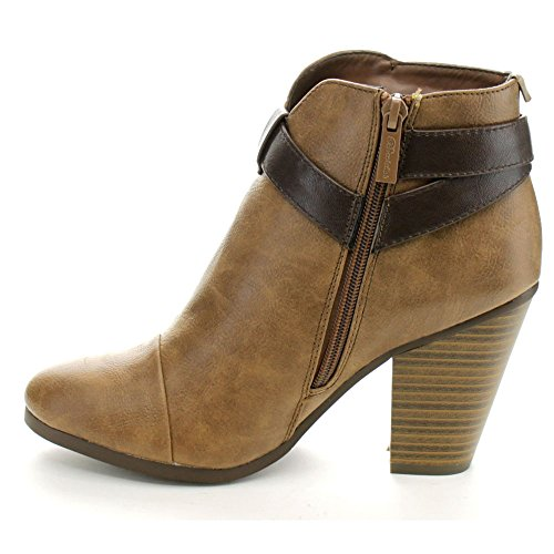 Breckelle's Booties Heel GAIL Chunky Women's Tan Ankle Belted Stacked 22 rwCrx68nqT