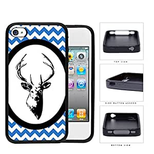 Blue & White Chevron Pattern with Deer Antler in White Center Oval Circle iPhone 4 4s Rubber Silicone TPU Cell Phone Case