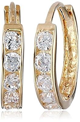 14k Yellow Gold Cubic Zirconia Channel-Set Baby Hoop Earrings