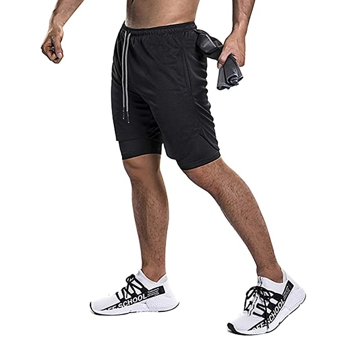 MECH-ENG Mens 2 in 1 Shorts Workout Running Training Gym 7 Short with Towel Loop