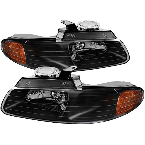 Plymouth Voyager Replacement Headlight - Carpartsinnovate 96-00 Caravan Town & Country Voyager Replacement Black Headlights Left+Right