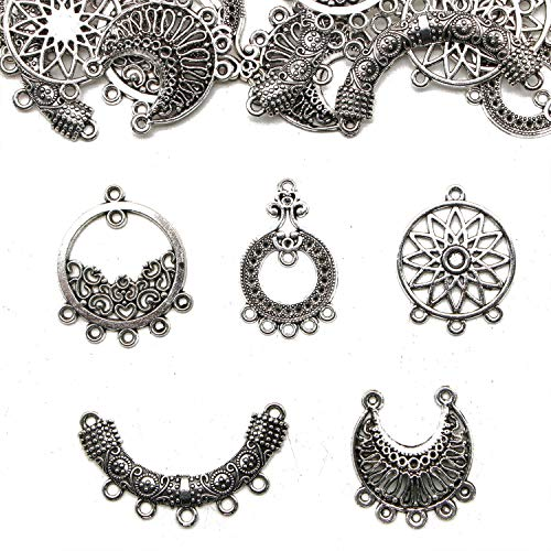 JETEHO 20pcs 5 Styles Tibetan Silver Earring Chandelier Earring Jewelry Making Connectors for Earring Drop and Charm Pendant Chandelier Components Bead Charm ()