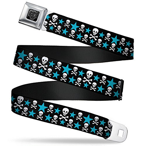 - Buckle-Down Seatbelt Belt - Skulls & Stars Black/White/Blue - 1.0