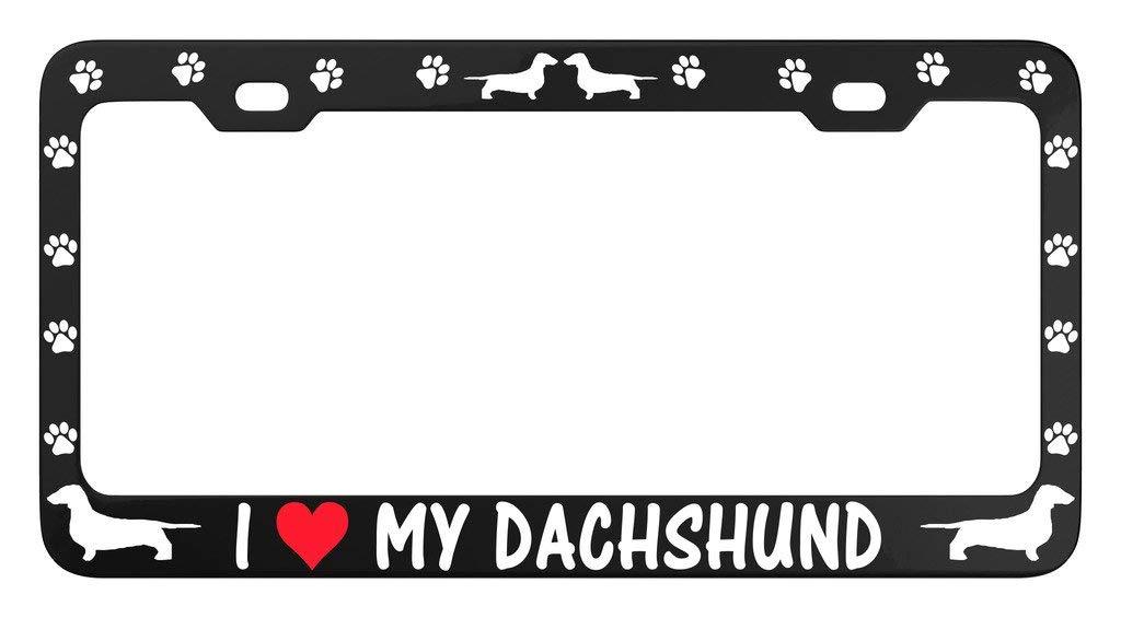 License Plate Covers & Frames VRFUN I Love My Dachshund Dog PAW Car License Plate Frame Tag Metal Frames Weatherproof Vinyl Letters Black Pink